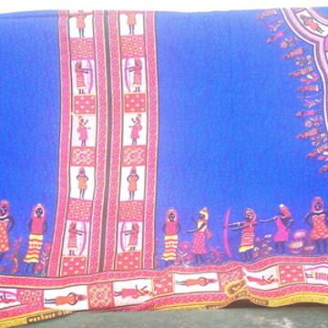 Tecido Africano Azul com figuras