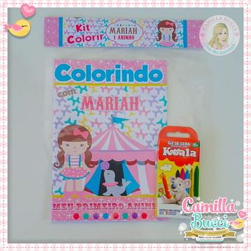 Kit Colorir 3D Circo Menina