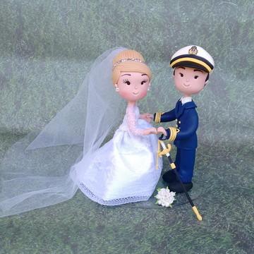 Casal de Noivinhos de Biscuit Marinheiro Tenente
