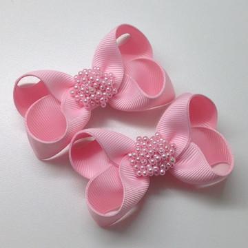 Par de Lacinhos Boutique Rosa Bebê com Pérolas