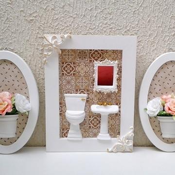 Conjunto Quadro Lavabo / Banheiro e Quadros com Flores