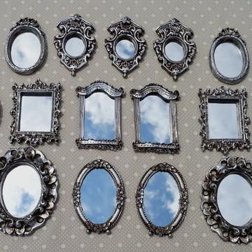 kit 15 mini espelhos com molduras em resina prata velha