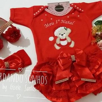 Body Meu Primeiro Natal com calcinha, sapato e faixa