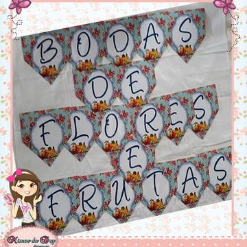 Varal / Bandeirola Bodas Flores e Frutas - 4 anos
