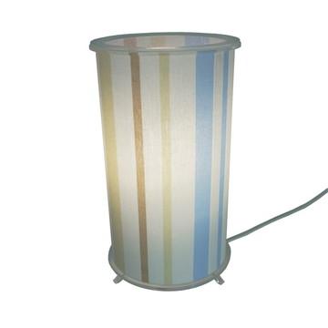 Abajur Cilíndrico Listrado Bege, Azul e Branco