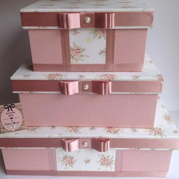 Trio de Caixas decorativas quarto bebê rosa velho