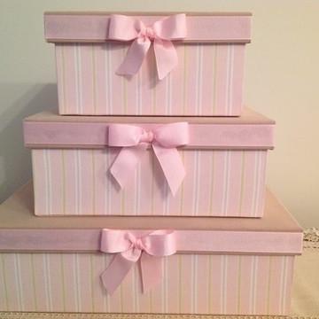 Trio de Caixas decorativas quarto bebê rosa com bege