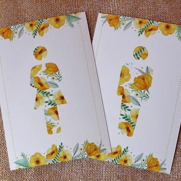 Plaquinha de Banheiro - Flores Amarela