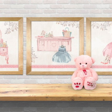 trio gravuras meninas, quadros menina, romântico- decor