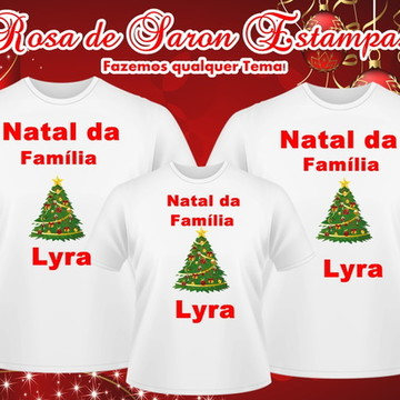 Kit 3 camisetas Natalinas Familia Lyra