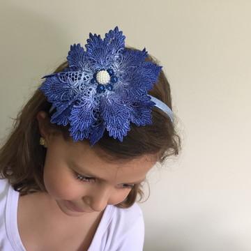 Tiara com Laço de Guipure Azul