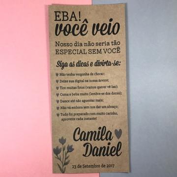 Menu Dicas Casamento Flores, Folhas & Kraft Rústico