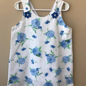 Vestido verão - Estampa Floral Azul