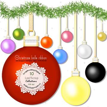 Bolas natalina com fita