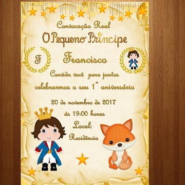 Convite digital pequeno príncipe realeza + Tag