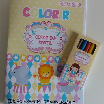 Revista de colorir e Giz de cera Circo Rosa