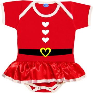 Body Saia de Natal Para Bebê Mamãe Noel Corações