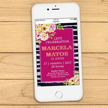 Convite Digital Listras e Flores