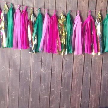 Cordão de Franjas Festa TASSEL GARLAND Rosa e Verde