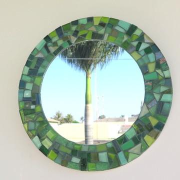 Espelho em mosaico redondo verde 25 cm