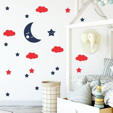 Adesivo lua, nuvens e Estrelas vermelho/azul noturno