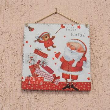 Quadro Papai Noel e Presentes