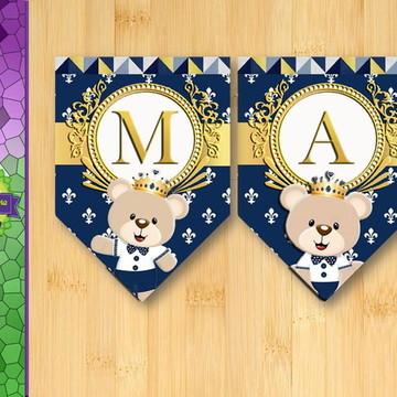 Bandeirinhas Príncipe Urso azul marinho com dourado
