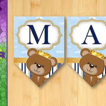 Bandeirinhas Príncipe Urso Azul com dourado