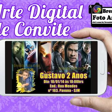Arte Digital Convite Vingadores
