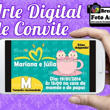 Arte Digital Convite Pampers Gêmeas