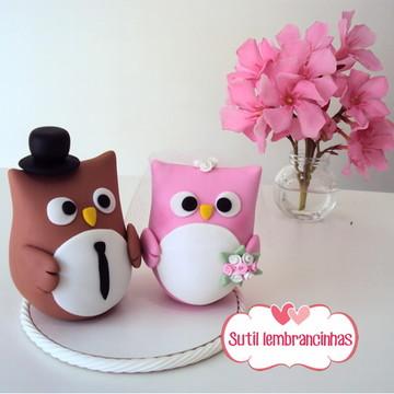 Topo de bolo Corujinhas marrom e rosa