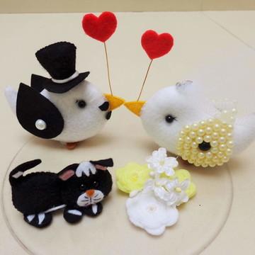 Topo de bolo para casamento família de pássaros