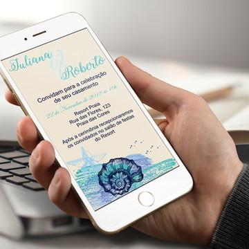 Convite Digital Casamento Praia - PROMOÇÂO