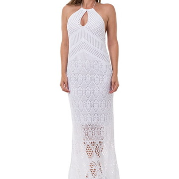 a6e45409e Vestido Longo Feminino de Tricot Frente Única Branco 04939
