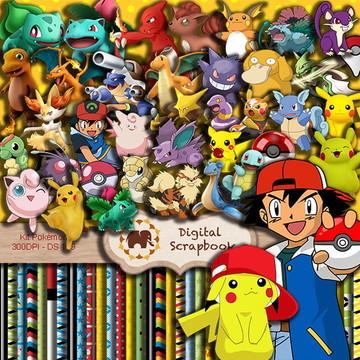 Kit Scrapbook Digital - Pokémon