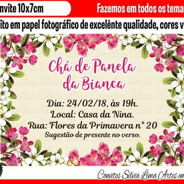 Convite chá de panela floral