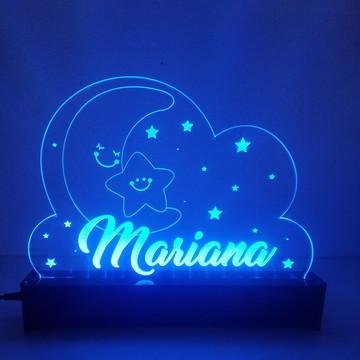 Luminária de acrílico e LED com nome
