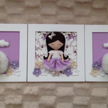 Trio de quadros Menina