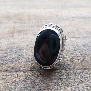 Anel Rococó Obsidiana Negra
