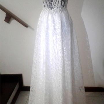 Saia Godê Longa Noiva de Renda e Cetim Branco Off White