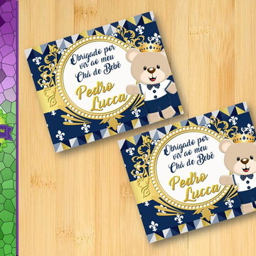 Tag Lembrancinha Príncipe Urso Azul Marinho com Dourado