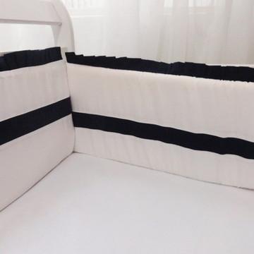 Kit Mini Berço Branco e Marinho