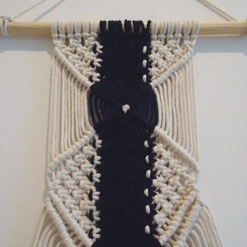 Primevères - painel em macramê corda de algodão cru e preto