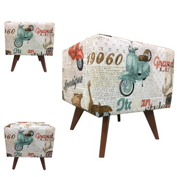 Puff Pé Palito Quadrado Alce Couch Veludo Motos Vintage