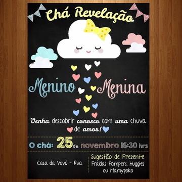 Convite digital chá revelação chuva de amor nuvens