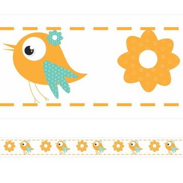 Faixa Decorativa Pássaro e Flor