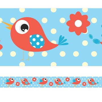 Faixa Decorativa Pássaros e Flores