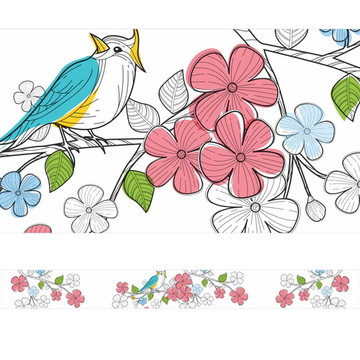 Faixa Decorativa Pássaro e Flores