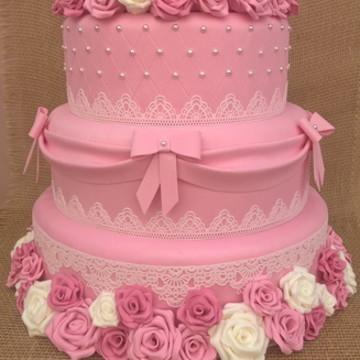 Bolo fake rosa para casamento 15 anos aniversário 4 andares