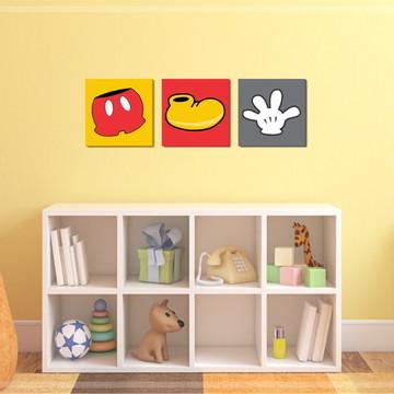 03 Quadros Decorativos Mickey - 30x30cm